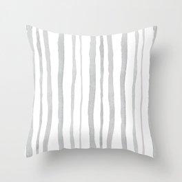 Grey Watercolour Stripes Throw Pillow