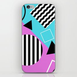 Stripes And Splats 1 - Wacky, Random, Abstract, Black And White Stripes, Blue and pink Artwork iPhone Skin