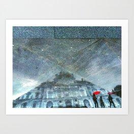 3 Ladies Visit Rainy Louvre Art Print
