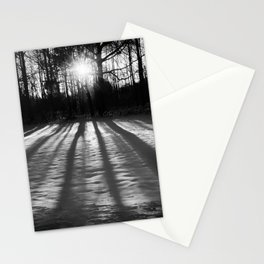 Winter Shadows from the Trees Rustic Black & White Landscape Photo Stationery Cards