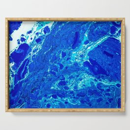 AN ABSTRACT PATTERN IN THE BLUE WATER SURFACE Serving Tray
