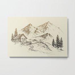 Vector of Mountain Landscape Metal Print