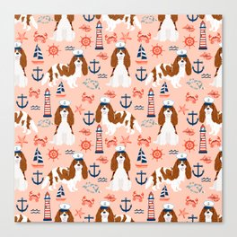 Cavalier King Charles Spaniel nautical sailing lighthouse new england sailboats dog breed Canvas Print
