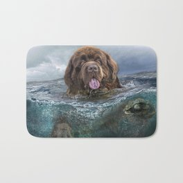 Majestic Newfoundland Dog Swimming Ultra HD Bath Mat
