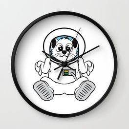 """""""Cute Space Cat Astronaut"""" tee design. Cute and adorable tee design perfect for fur lovers like you! Wall Clock"""