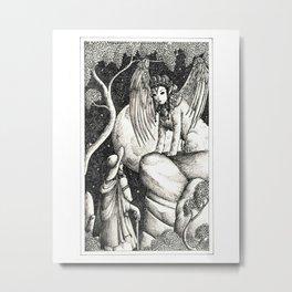 Oedipus and the sphinx Metal Print