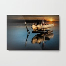 Aluminum Fishing Boat at Sunrise on Stony Lake Metal Print