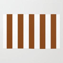 Saddle brown - solid color - white vertical lines pattern Rug
