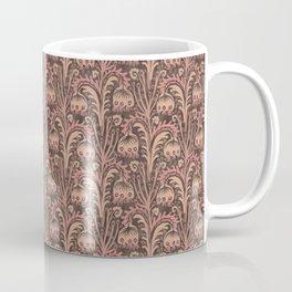 Old Rose Pink Woodcut Style Bellflower William Morris inspired Pattern Coffee Mug