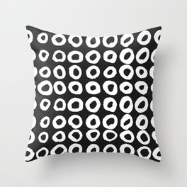 Pattern with hand-drawn ink, painted circles Throw Pillow