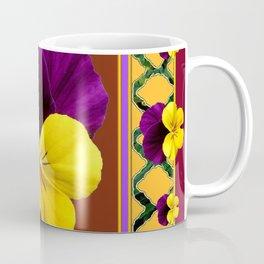 MAROON PURPLE & YELLOW SPRING PANSIES  GARDEN Coffee Mug