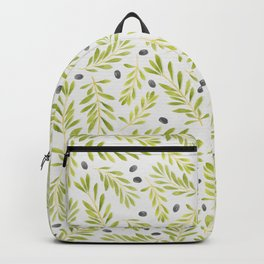 Watercolor Olive Branches Pattern Backpack