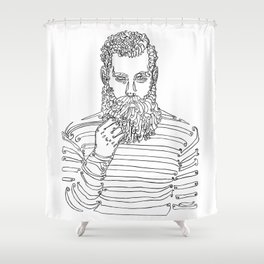 Beard Man with a Pipe Shower Curtain