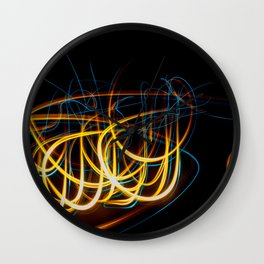 Abstract Orange and Blue Light Effect Wall Clock