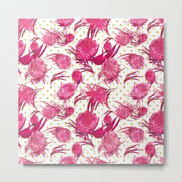 Pink and Gold Australian Native Floral Pattern - Protea, Grevillea and Eucalyptus Metal Print
