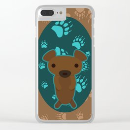 Bear with Paw Prints Clear iPhone Case