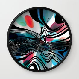 Wild Primary Color Wave Abstract Wall Clock