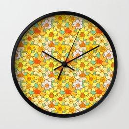 Daffodils (blue) Wall Clock