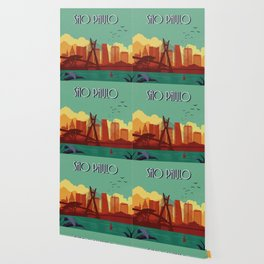 Sao Paulo vintage poster travel Wallpaper