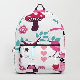 Pink Folk Forest Scene Owl Bird Botanical Garden Backpack