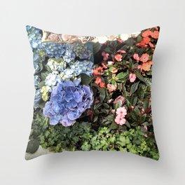 Hydrangeas and Impatiens Throw Pillow