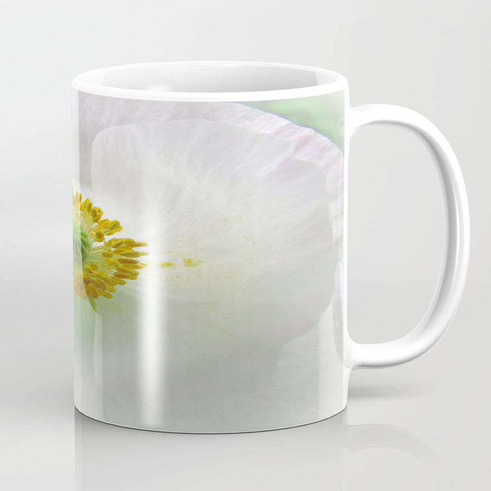White Arctic Poppy Mug by Bellamahri MUG8674538