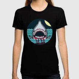 Dark night at the sea - wild shark appear T-shirt