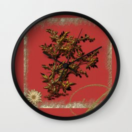 Golden flower on red Wall Clock