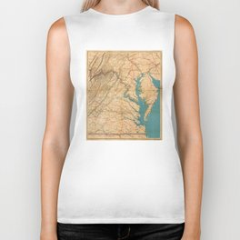 Vintage Map of Virginia and The Chesapeake Bay (1862) Biker Tank