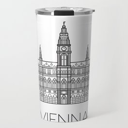 Town Hall Vienna Austria Black and White Travel Mug
