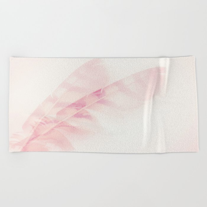 Pink feathers on a soft pastel background - beautiful and dreamy Beach Towel