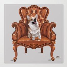 Corgi in Chair Canvas Print