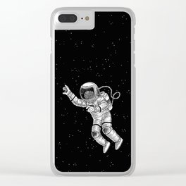 Astronaut in the outer space Clear iPhone Case