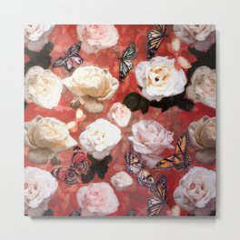 White Roses and Butterflies (Red) Metal Print