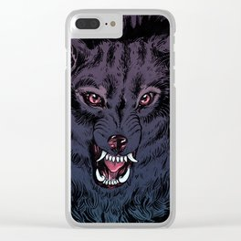 Wolf Howl Sketch Clear iPhone Case