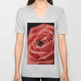 Red rose with black ladybug Unisex V-Neck