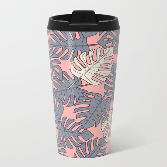Monstera Peach Pattern Metal Travel Mug