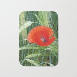 The Red Poppy in the Field Bath Mat