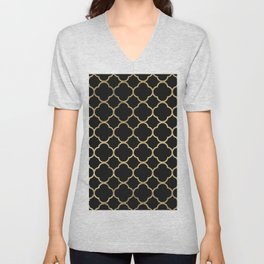 Elegant geometrical black faux gold quatrefoil Unisex V-Neck