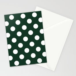 Phthalo green - green - White Polka Dots - Pois Pattern Stationery Cards