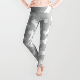 Silver Schnauzers - Simple Dog Silhouettes Pattern Leggings