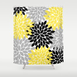 Yellow Black Gray Flower Burst Floral Pattern Shower Curtain