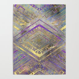 Tribal  Ethnic Boho Pattern gold and gentle purples Poster