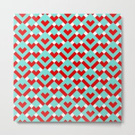 Graphic Hearts Pattern (Christmas Candy Color Palette) Metal Print