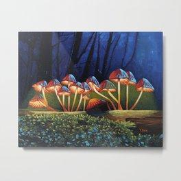 Oil painting night light glowing mushrooms Metal Print