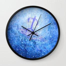 Surfer / Tribal Prints Indigo Wall Clock