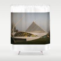 milwaukee Shower Curtains featuring Milwaukee Art Museum by Ren Davis