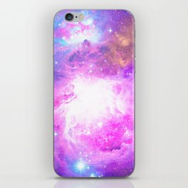 Colorful Pastel Pink Nebula Purple Galaxy Stars iPhone Skin