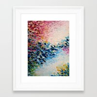 jazzberry Framed Art Prints featuring PARADISE DREAMING Colorful Pastel Abstract Art Painting Textural Pink Blue Tropical Brushstrokes by EbiEmporium