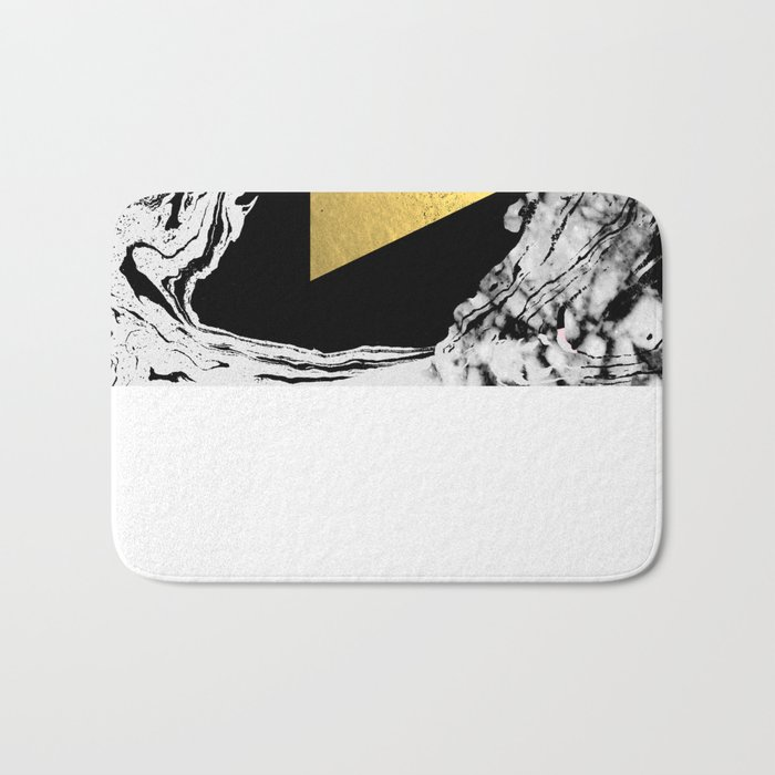 Davina - triangle modern minimal marble black and white foil gold abstract painting trendy bklyn  Bath Mat